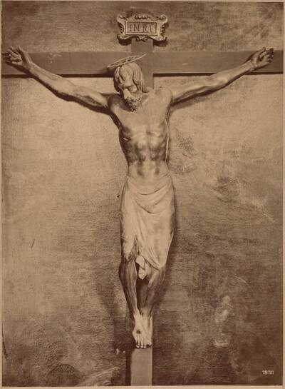 Fotografie eines Kruzifix aus Holz, von Donatello, in Florenz in der Kreuzkirche, aus dem 15. Jh. (vom Bearbeiter vergebener Titel)