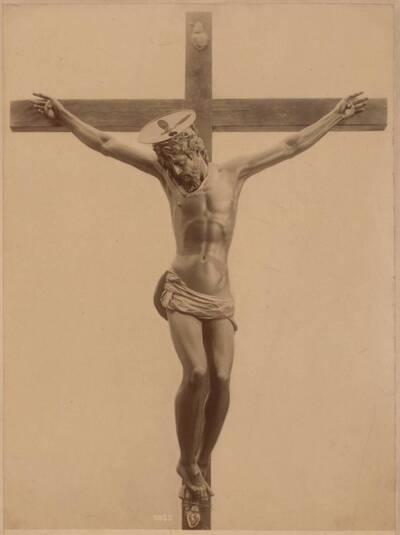 Fotografie eines Bronze-Kruzifix in der Kirche der hl. Anunziata in Florenz, von Giovanni da Bologna (vom Bearbeiter vergebener Titel)