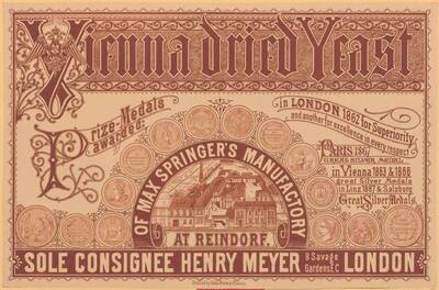 Etikette für Vienna Dried Yeast of Max Springer's Manufactory (vom Bearbeiter vergebener Titel)