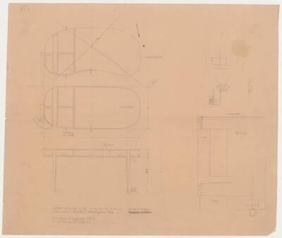 Planzeichnung für einen Schreibtisch mit Lederplatte, neun Laden und Messingbeschlag für Frau Margarete Tietz in Köln-Marienburg (ST1) (vom Bearbeiter vergebener Titel)
