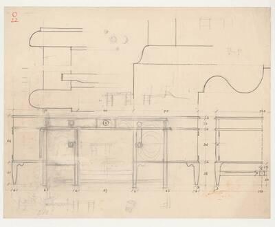 Planzeichnung für einen Schreibtisch (O22) (vom Bearbeiter vergebener Titel)