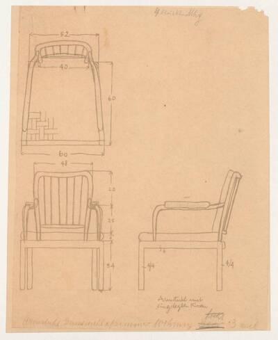 Planzeichnung für einen Armstuhl aus Mahagoni mit eingelegtem Kissen, vermutlich ursprünglich für die Einrichtung der Wohnung von Robert und Elisabeth Beer entworfen (H59) (vom Bearbeiter vergebener Titel)