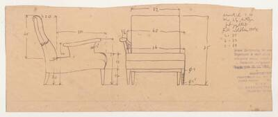 Planzeichnung für einen Armstuhl mit einer Armstütze (H58) (vom Bearbeiter vergebener Titel)