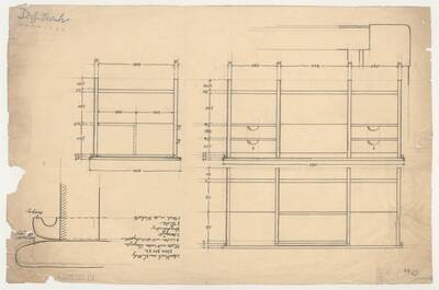 Planzeichnung für einen Schreibtisch aus Nussholz mit Lederüberzug und seitlichem Auszug (ST40) (vom Bearbeiter vergebener Titel)
