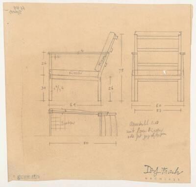 Planzeichnung für einen Armstuhl mit losen oder fest gepolsterten Kissen (H49) (vom Bearbeiter vergebener Titel)