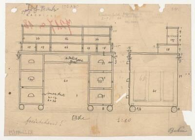 Planzeichnung für einen freistehenden Schreibtisch aus Eiche im Verhältnis 1:10 (ST5) (vom Bearbeiter vergebener Titel)