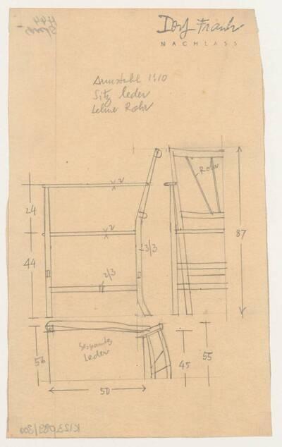 Planzeichnung für einen Armstuhl mit Ledersitz und einer Lehne aus Rohr (H44) (vom Bearbeiter vergebener Titel)
