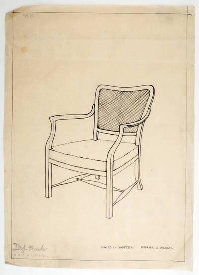 Entwurfszeichnung für einen Armstuhl mit geflochtener Rückenlehne der Firma Haus & Garten, verwendet für die Einrichtung des Hauses von Otto und Agathe Krasny, Fürfanggasse 5, 1190 Wien (H46) (vom Bearbeiter vergebener Titel)