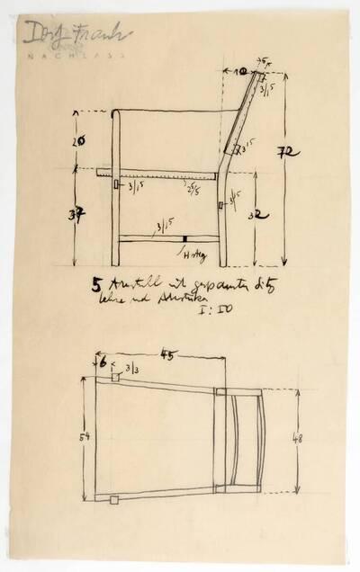 Planzeichnung für einen Armstuhl mit Stoff oder Leder bespannter Sitzfläche, Lehne und Armstützen (H53) (vom Bearbeiter vergebener Titel)