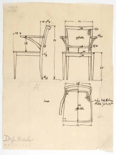 Planzeichnung für einen Armstuhl mit aufgelegtem, etwas geschweiftem Rahmen und geflochtener Sitzfläche und Lehne (H41) (vom Bearbeiter vergebener Titel)