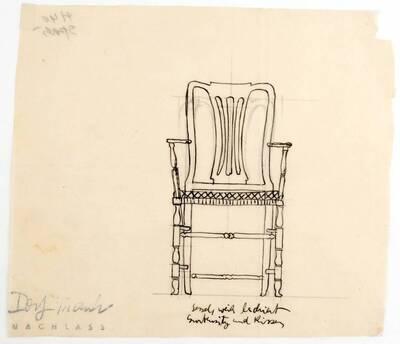 Planzeichnung für einen Armsessel weiß lackiert, mit Gurtensitz und Kissen (Chippendale) (H40) (vom Bearbeiter vergebener Titel)