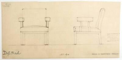 Planzeichnung für einen gepolsterten Armstuhl, dessen Armlehnen nicht mit der Rückenlehne verbunden sind, entworfen für die Firma Haus & Garten (H57) (vom Bearbeiter vergebener Titel)