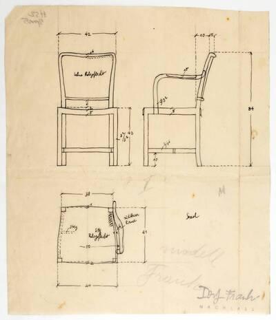 Planzeichnung für einen Sessel und einen Armsessel mit Sitz und Lehne aus Rohrgeflecht (H52) (vom Bearbeiter vergebener Titel)