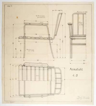 Planzeichnung für einen Armstuhl aus Rundeisen, sowie einer Sitzfläche und Rückenlehne aus Holzbrettern, entworfen für die Firma Haus & Garten (Me3) (vom Bearbeiter vergebener Titel)