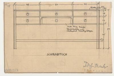 Planzeichnung für einen Schreibtisch mit herunterklappbarer Vorderwand und nach hinten versetzter Lade (ST18) (vom Bearbeiter vergebener Titel)