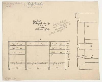 Planzeichnung für einen Schreibtisch mit Schreibmaschinenlade (ST9) (vom Bearbeiter vergebener Titel)