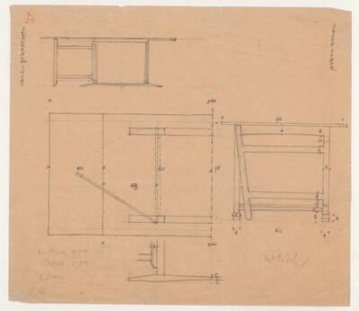 Planzeichnung für einen Schreibtisch mit ausklappbarem Seitenelement (vom Bearbeiter vergebener Titel)