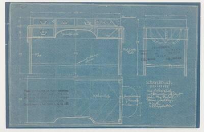 Planzeichnung für einen Schreibtisch aus Makaraholz mit Messingbeschlag für ein Herrenzimmer (ST2) (vom Bearbeiter vergebener Titel)