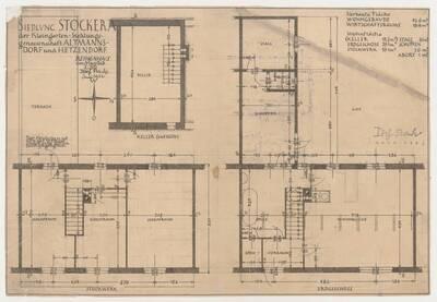 Originalgrundrisspläne zu den einzelnen Etagen für ein Reihenhaus der Siedlung Stockerau von Josef Frank (vom Bearbeiter vergebener Titel)