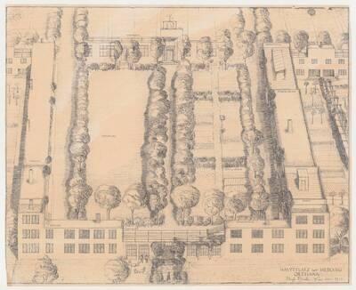 Entwurf mit einer perspektivischen Ansicht des Hauptplatzes der Siedlung Ortmann in Pernitz (vom Bearbeiter vergebener Titel)