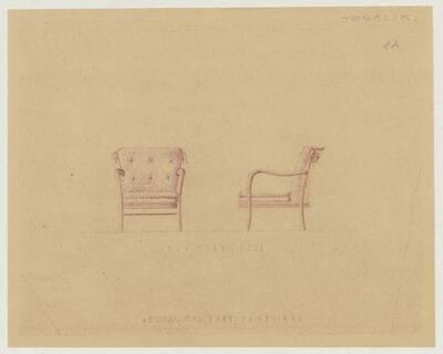Entwurf für einen Armlehnsessel für die Terrasse des Hotel Post von Ludwig Grossauer in Admont (vom Bearbeiter vergebener Titel)