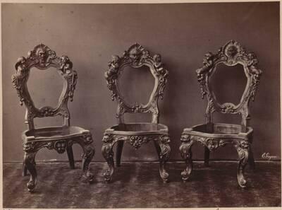 Fotografie dreier Sessel von Egisto Gajani aus Florenz (vom Bearbeiter vergebener Titel)