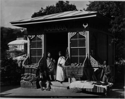 Ansicht eines tunesischen Bazars, Teil der orientalischen Baugruppe (vom Bearbeiter vergebener Titel)