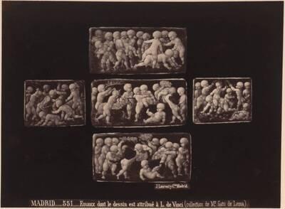 Fotografie von Emailplatten mit Amoretten aus der Sammlung Gato de Lema in Madrid (vom Bearbeiter vergebener Titel)