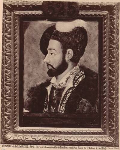 Fotografie eines Porträts des Connétable von Bourbon als Email von Léonard Limosin, 16. Jh. (vom Bearbeiter vergebener Titel)