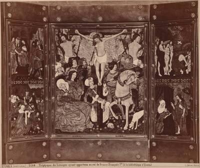 Fotografie eines emaillierten Triptychons mit Szenen der Passion Christi aus Limoges (vom Bearbeiter vergebener Titel)