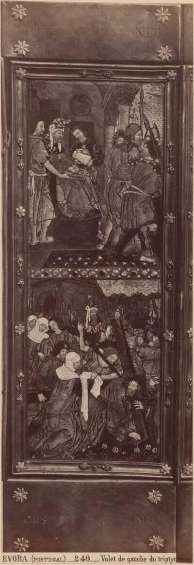 Fotografie des linken Flügels eines emaillierten Triptychons aus Limoges mit den Szenen