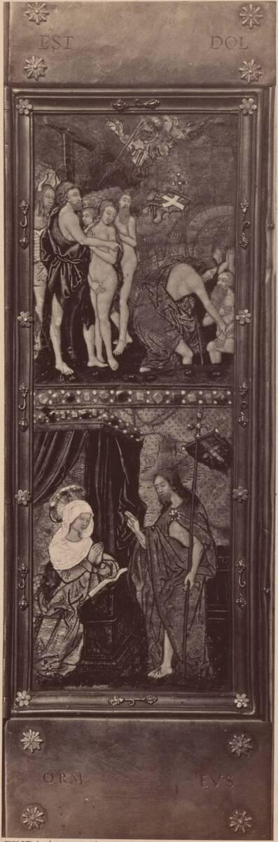 Fotografie des rechten Flügels eines emaillierten Triptychons aus Limoges (vom Bearbeiter vergebener Titel)