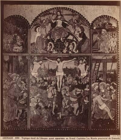 Fotografie eines emaillierten Triptychons aus Limoges mit Szenen aus dem Leben Christi (vom Bearbeiter vergebener Titel)