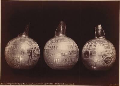 Fotografie eines kugelförmigen römischen Glasgefäßes (vom Bearbeiter vergebener Titel)