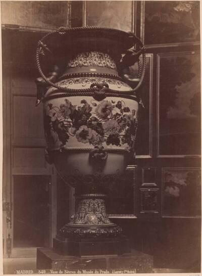 Fotografie einer Sèvres-Vase mit Blumen-Motiv (vom Bearbeiter vergebener Titel)
