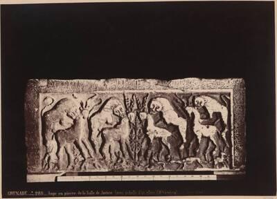 Fotografie eines Reliefs mit Tierdarstellungen, auf einem Steintrog im Justizsaal der Alhambra, in Granada (vom Bearbeiter vergebener Titel)