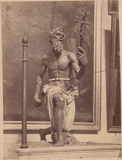 Fotografie einer Terrakotta-Statue des heiligen Hieronymus, von Pietro Torrigiano (vom Bearbeiter vergebener Titel)