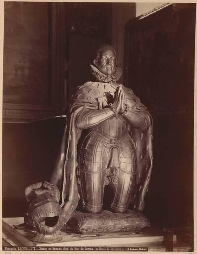 Fotografie einer vergoldeten Bronze-Statue des Herzogs von Lerma, von Leoni Pompeo (vom Bearbeiter vergebener Titel)