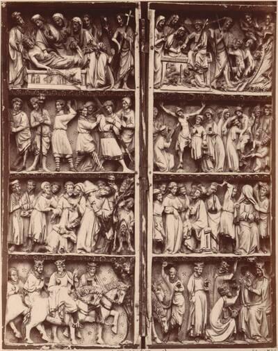 Fotografie eines Elfenbeindiptychons mit Szenen der Passion Christi aus dem 13. Jahrhundert (vom Bearbeiter vergebener Titel)