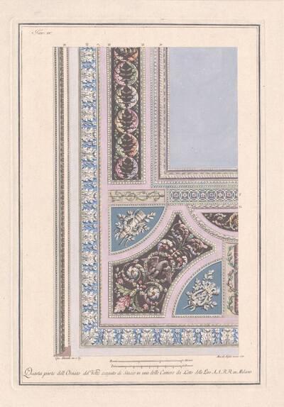 """Plafonddekoration, die in einem Schlafgemach in Mailand ausgeführt wurde, Blatt 4 (IV) aus der Folge """"Alcune Decorazioni di nobili Sale ed altri Ornamenti."""" (vom Bearbeiter vergebener Titel)"""