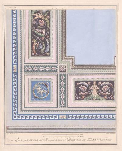 """Plafonddekoration, die in einem Zimmer in Mailand ausgeführt wurde, Blatt 6 (VI) aus der Folge """"Alcune Decorazioni di nobili Sale ed altri Ornamenti."""" (vom Bearbeiter vergebener Titel)"""