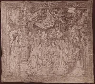 Fotografie eines Gobelins zur Passion Christi aus dem Domschatz, Trient (vom Bearbeiter vergebener Titel)