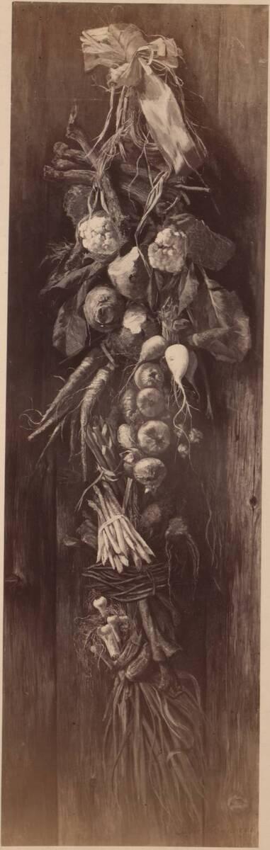 Fotografie eines Stilllebens mit Gemüsesorten, von Izidor Kršnjavi (vom Bearbeiter vergebener Titel)