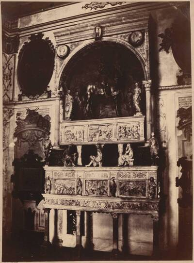 Fotografie des Grabmals des Bartolomeo Colleoni, in der Capella Colleoni in Bergamo (vom Bearbeiter vergebener Titel)