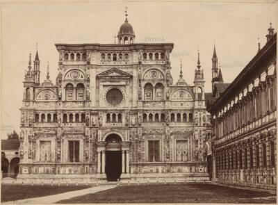 Fotografie der Klosteranlage Certosa di Pavia (vom Bearbeiter vergebener Titel)