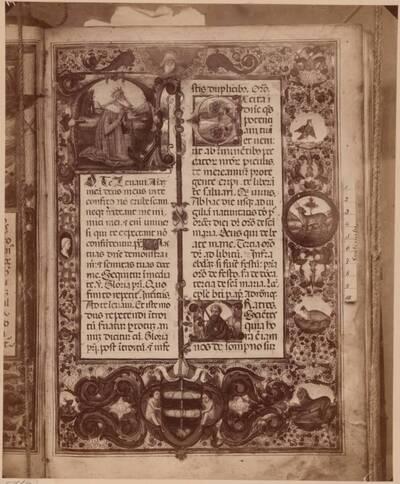 Fotografie einer Seite eines Missales mit Miniaturmalereien von 1480 aus dem Dom in Zadar (vom Bearbeiter vergebener Titel)