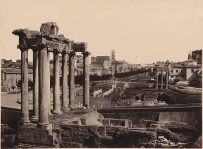 Fotografie des Saturn-Tempels im Forum Romanum, in Rom (vom Bearbeiter vergebener Titel)