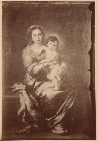 Fotografie einer Porträtmalerei einer Madonna mit Kind (vom Bearbeiter vergebener Titel)