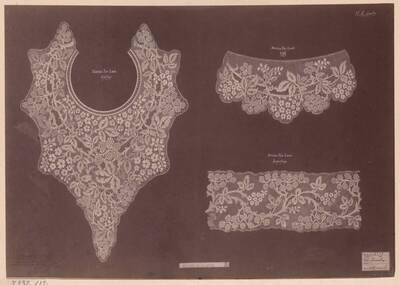 Fotografie von Spitzen-Entwürfen (kragen, Ärmelbund, Einsatz) von Herbert A. Loasby (vom Bearbeiter vergebener Titel)
