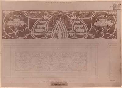 Fotografie eines Panel-Entwurfes als Dekoration für ein Klavier (vom Bearbeiter vergebener Titel)